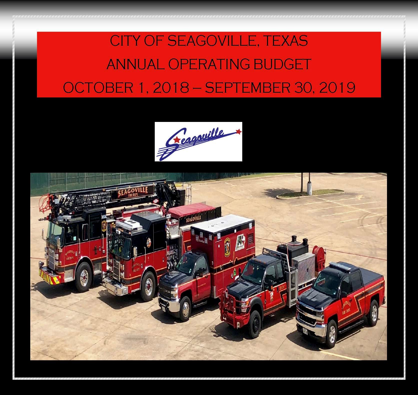 CITY OF SEAGOVILLE Budget Cover