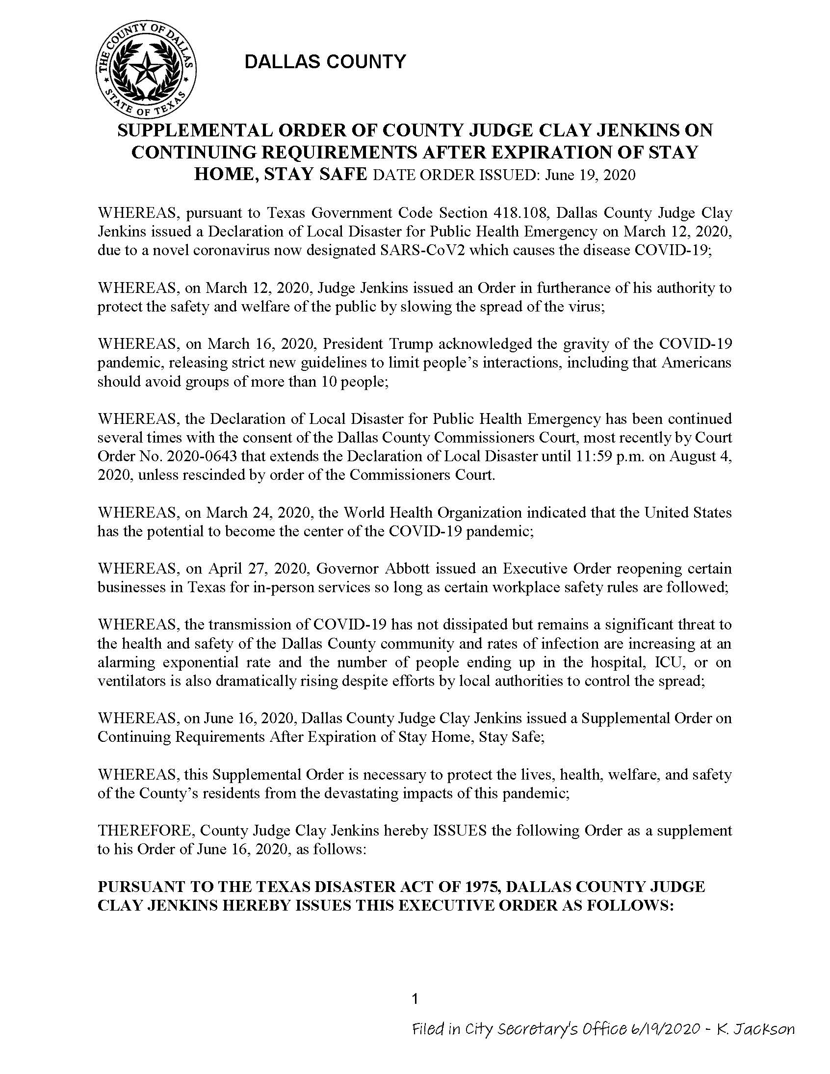 06-19-2020  Dallas County Supplemental Order on Continuing Requirements after Expiration of Stay At